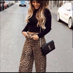 Zara animal leopard print jeans